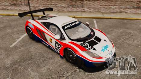 McLaren MP4-12C GT3 (Updated) pour GTA 4 vue de dessus