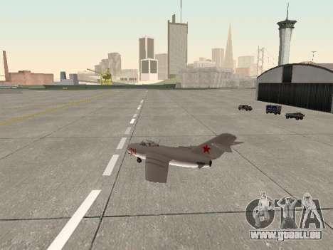 MiG 15 Bis pour GTA San Andreas vue de droite