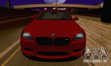 BMW M5 F10 v1.1 pour GTA San Andreas vue arrière