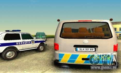 Volkswagen Transporter Policie pour GTA San Andreas sur la vue arrière gauche