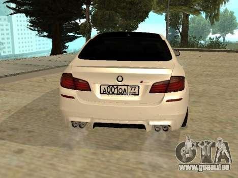 BMW M5 F10 V2.0 pour GTA San Andreas sur la vue arrière gauche
