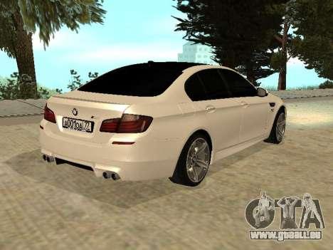 BMW M5 F10 V2.0 pour GTA San Andreas laissé vue