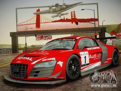 Audi R8 LMS Ultra W-Racing Team Vinyls pour GTA San Andreas vue arrière
