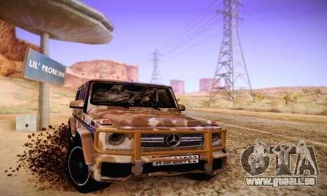 Mercedes Benz G65 Army Style pour GTA San Andreas vue arrière