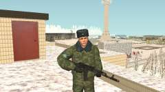 Des militaires en uniforme d'hiver
