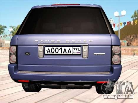 Land Rover Supercharged Stock 2010 V2.0 pour GTA San Andreas vue arrière