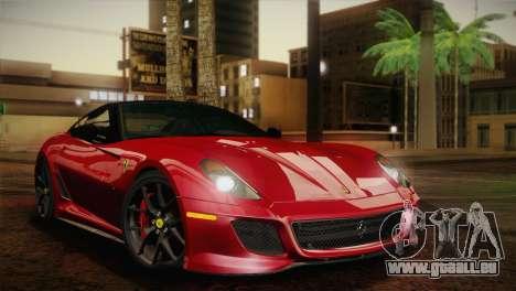 Ferrari 599 GTO 2011 pour GTA San Andreas sur la vue arrière gauche