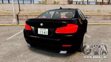 BMW M5 F10 2012 Japanese Unmarked Police [ELS] pour GTA 4 Vue arrière de la gauche