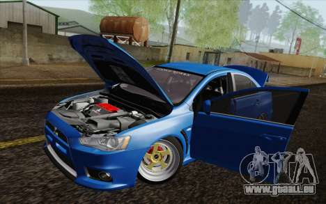 Mitsubishi Lancer Evo X GangLow pour GTA San Andreas vue arrière