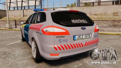 Ford Mondeo Hungarian Police [ELS] pour GTA 4 Vue arrière de la gauche