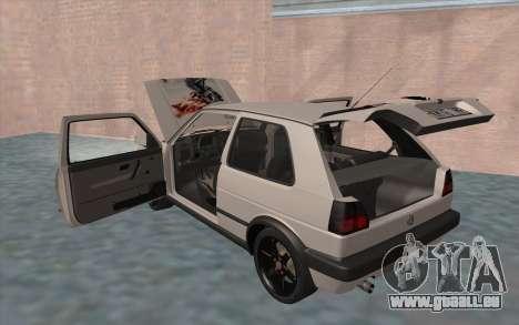 Volkswagen Golf 2 pour GTA San Andreas vue de dessous