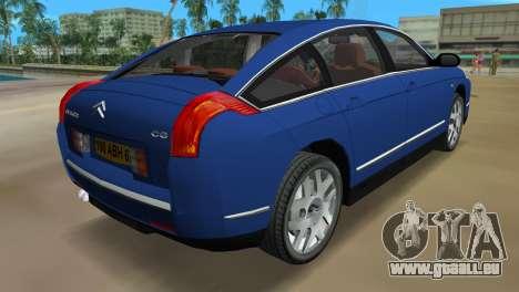 Citroen C6 pour GTA Vice City sur la vue arrière gauche