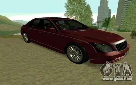 Maybach 57 TT Black Revel für GTA San Andreas zurück linke Ansicht
