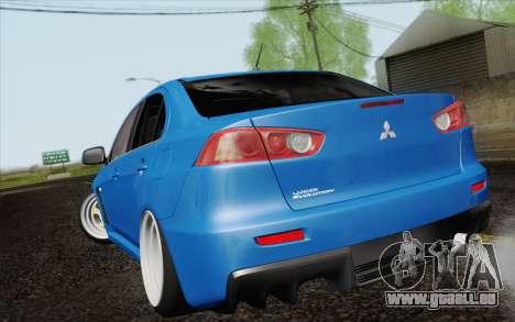 Mitsubishi Lancer Evo X GangLow pour GTA San Andreas laissé vue