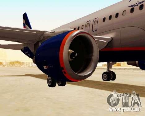 Airbus A320-200 Aeroflot für GTA San Andreas zurück linke Ansicht