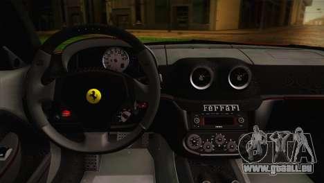 Ferrari 599 GTO 2011 pour GTA San Andreas vue arrière