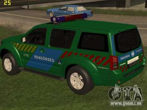 Nissan Pathfinder Police pour GTA San Andreas vue de dessous
