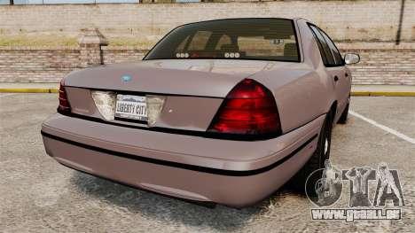Ford Crown Victoria 2008 LCPD Detective [ELS] pour GTA 4 Vue arrière de la gauche