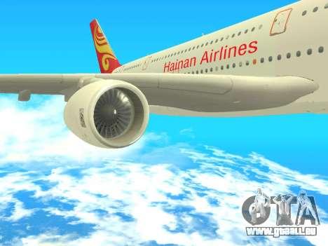 A380-800 Hainan Airlines pour GTA San Andreas vue de droite
