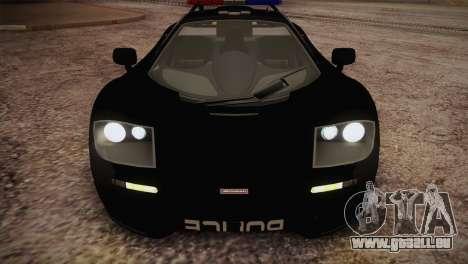 McLaren F1 Police Edition pour GTA San Andreas vue intérieure