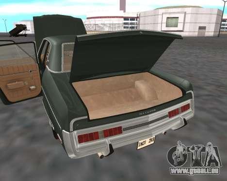 AMC Matador 1972 für GTA San Andreas Unteransicht
