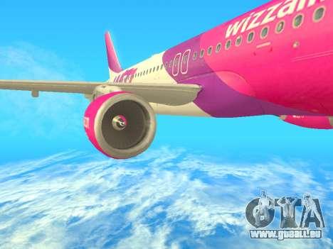 Airbus A320-200 WizzAir für GTA San Andreas zurück linke Ansicht