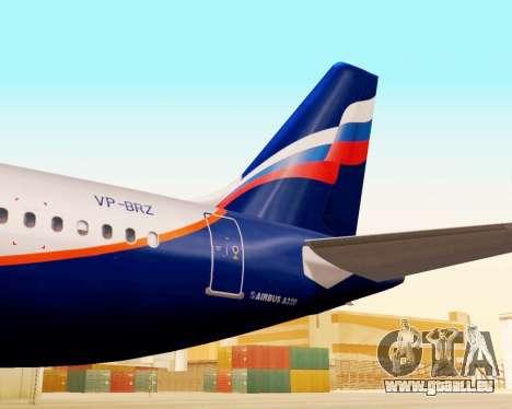 Airbus A320-200 Aeroflot für GTA San Andreas Rückansicht