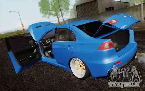 Mitsubishi Lancer Evo X GangLow pour GTA San Andreas vue intérieure