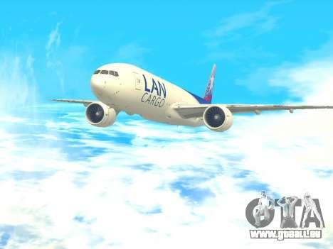 Boeing 777 LAN Cargo für GTA San Andreas zurück linke Ansicht