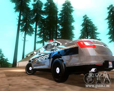 Ford Interceptor Los Santos County Sheriff für GTA San Andreas zurück linke Ansicht