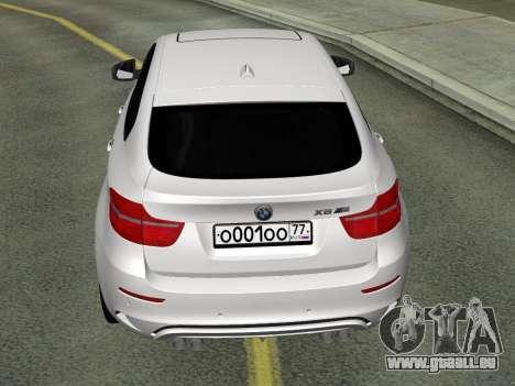 BMW X6M 2010 pour GTA San Andreas sur la vue arrière gauche