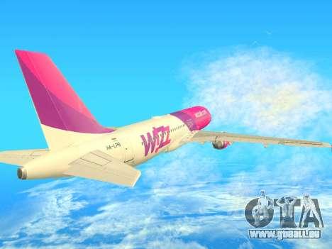 Airbus A320-200 WizzAir für GTA San Andreas Rückansicht