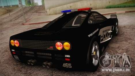 McLaren F1 Police Edition pour GTA San Andreas sur la vue arrière gauche