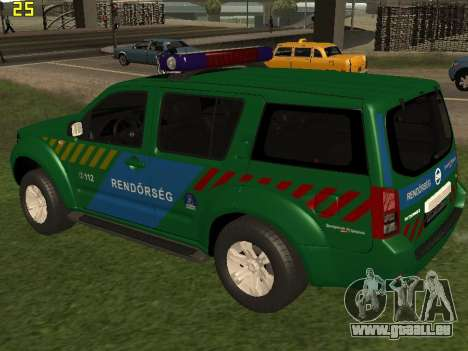 Nissan Pathfinder Police für GTA San Andreas zurück linke Ansicht