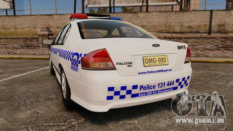 Ford Falcon XR8 Police Western Australia [ELS] pour GTA 4 Vue arrière de la gauche