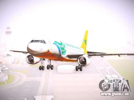 Airbus A320 Cebu Pacific Air pour GTA San Andreas sur la vue arrière gauche