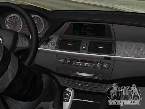 BMW X6M 2010 pour GTA San Andreas vue de dessous