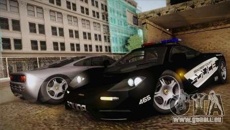 McLaren F1 Police Edition pour GTA San Andreas laissé vue