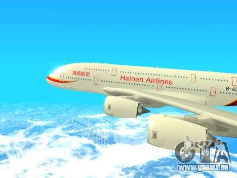 A380-800 Hainan Airlines pour GTA San Andreas sur la vue arrière gauche