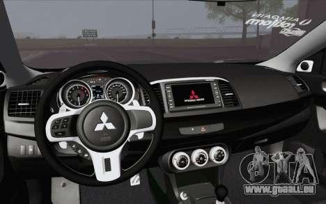 Mitsubishi Lancer Evo X GangLow pour GTA San Andreas vue de droite