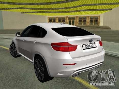 BMW X6M 2010 pour GTA San Andreas vue arrière