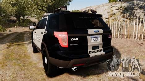 Ford Explorer 2013 LCPD [ELS] Black and Gray für GTA 4 hinten links Ansicht