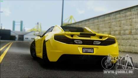 McLaren MP4-12C Spider für GTA San Andreas zurück linke Ansicht