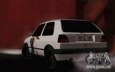 Volkswagen Golf 2 pour GTA San Andreas laissé vue