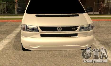 Volkswagen T4 Transporter pour GTA San Andreas vue arrière