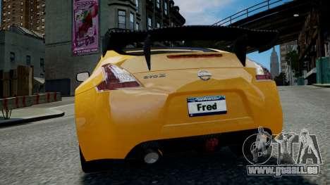 Nissan 370Z 2009 pour GTA 4 est une vue de l'intérieur