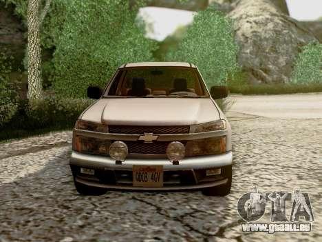 Chevrolet Colorado pour GTA San Andreas vue de dessous