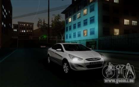 Hyundai Solaris für GTA San Andreas Rückansicht