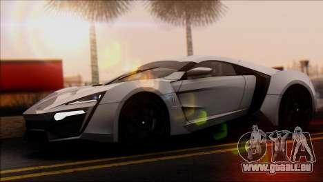 W Motors Lykan Hypersport 2013 für GTA San Andreas zurück linke Ansicht