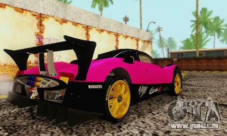 Pagani Zonda Type R Pink pour GTA San Andreas sur la vue arrière gauche